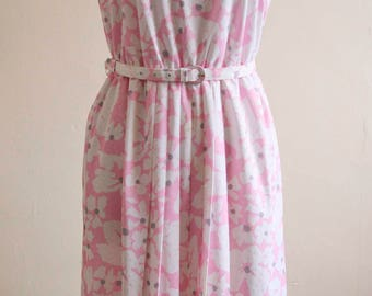 Pink Floral Vintage Summer Dress