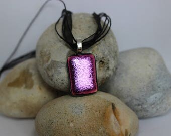 shiny pink fused glass pendant with necklace