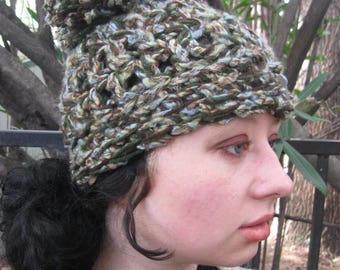 Fat Hat - Chunky in woodland colors with an impressive pom pom!
