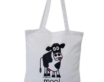 Cute Moo Cow white cotton Tote Bag
