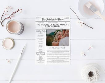 DIY Newspaper Wedding Program DIY Program Wedding Program wedding Newspaper Program DIY Printable Wedding Program Template Newspaper