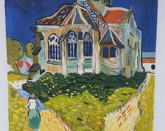 The Church at Auvers by Van Gogh, reproduction