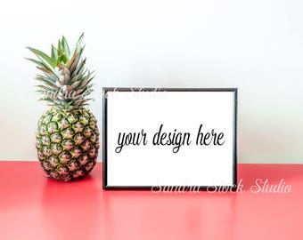 Styled Frame Mockup, 8x10, Black Frame Mockup, Horizontal Frame Mockup, Styled Stock Photography, PSD, Poster Frame, Tropical, Pineapple