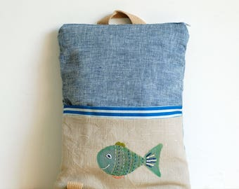Toddler backpack, kid backpack, small diaper bag, hand embroidered and painted, denim fish rucksack