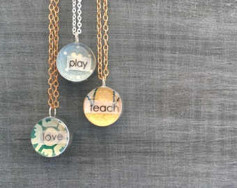 Little Reminder pendant necklace with vintage wallpaper // gift for her. Custom reminder pendant, custom jewelry, personalized pendant