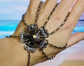 Opal Slave Bracelet, hand chain, filigree bracelet, handmade with gunmetal chain also available with black glass stone