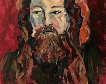 Rasputin expressionist portrait in reds greens and browns