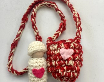 Valentine Peg doll necklace doll in pouch ready to ship red and white