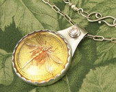 """Czech Glass Yellow Dragonfly """"Golden Morning"""" - Sterling with Champagne colored CZ - OOAK"""