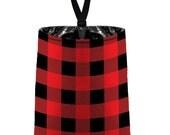 Car Trash Bag // Auto Trash Bag // Car Accessories // Car Litter Bag // Car Garbage Bag - Buffalo Plaid Red Black