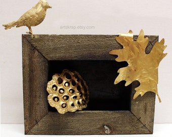 Original Art, Junk Art, Assemblage, Gold Bird, Lotus Pod, Natural Wood, Gold Leaf, Wall Art, Home Decor, Office Art, Design, Winjimir, Gift,