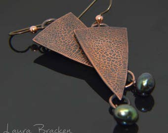 Textured Copper Earrings with Green Pearl