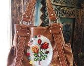 Upcycled Faux Leather Bag, Vintage Needlepoint, Tapestry, Vintage Buttons, Vegan, Shoulder Bag, Rustic, Boho