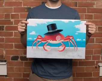 Crab Art Print - Beach Art Print - 11x17 Original From the Artist