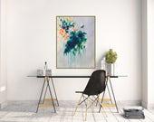 Large botanical art print of original abstract floral painting, floral giclee art print, boho wall art