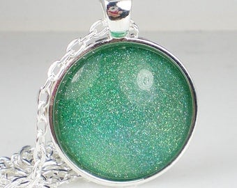 Blue Green Holo Glitter Nail Polish Necklace Jewelry