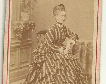 Amazing striped dress fashion updo braid hair Victorian antique photo cdv