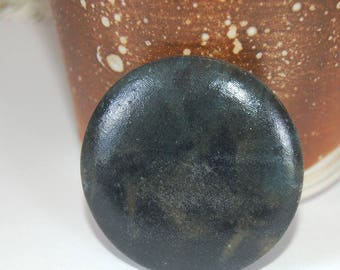 "Cabochon for Bead-weaving, making into a pendant - One-of-a-kind OOAK Handmade Handcrafted Black Blue Brown 2"" 50mm in diameter Very Earthy"