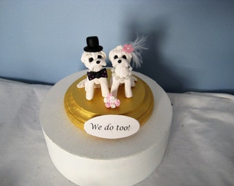 Maltese dogs Wedding Cake Topper, handmade, clay, OOAK, interactive, pawsnclaws, whimsical, keepsake, anniversary
