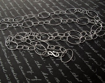 Shimmy - solid sterling silver super long oval link necklace