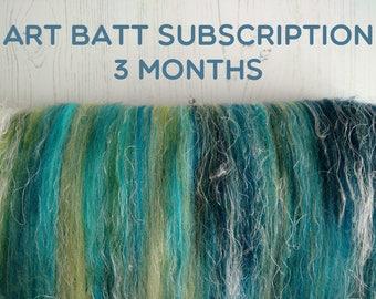 Art Batt Subscription - 3 Months - Batt for Spinning - Spinning Fiber - Felting - Felt Making - Art Batt - Carded Batts - Art Yarn Spinning