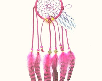 Fuchsia Dream Catcher, Chinchilla Rooster Feathers