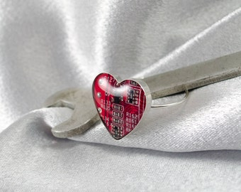 Circuit Board Heart Ring, Sterling Silver Heart Ring, Wearable Technology, Red Heart, Geeky Jewelry, Anniversary Gift, Computer Jewelry