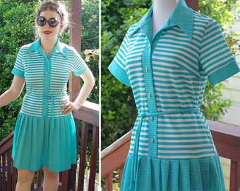 SEA Breeze 1970's Vintage Light Teal Blue + White Nautical Striped Dress w/ Belt // by A Preferred Fashion // size Small Med