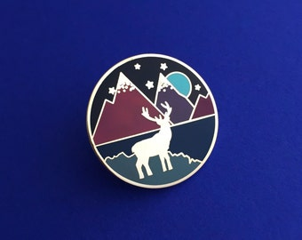 Stag & Mountains Enamel Pin Badge - Purple Lapel Pin, Starry Sky, Mountain Scene, Scotland Pin