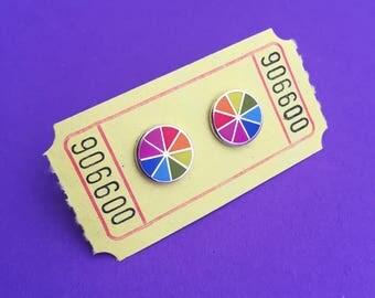 Tiny Colour Wheel Earrings - Hard Enamel Stud Earrings