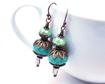 Teal Blue Earrings, Copper Earrings, Dangle Earrings, Boho Earrings, Bohemian Handmade Earrings, Blue Beaded Earrings, Drop Earrings