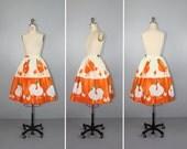 1950s skirt / vintage skirt / novelty print / LITTLE CHICKS novelty skirt