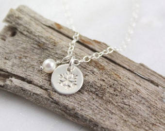 Tiny Snowflake Charm and Pearl Silver Necklace