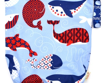 Large 14 x 16 x 4 Wet Bag  / True Blue Whales Fabric / Perfect for Diapers / Gym / Swim / SEALED SEAMS and Snap Strap