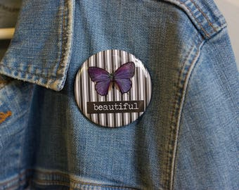 "Cheapie button! ""Beautiful"" 2.25"" Button With Purple Butterfly!"