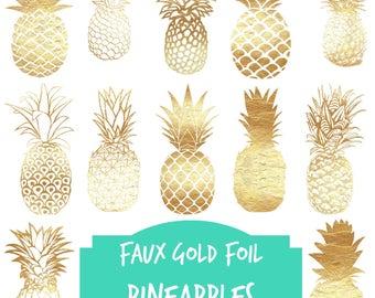 Gold Pineapples, Digital clip art, 12 Gold foil pineapples, pineapple clipart, Pineapples, faux gold foil, digital, metallic gold, pineapple