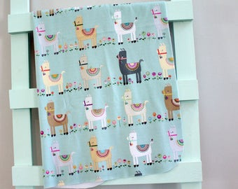 baby blanket swaddle fleece teal llama alpaca  by PETUNIAS newborn hipster modern baby shower gift photo prop wrap cotton boy nuetral