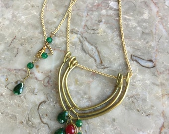 Emerald and brass wishbone necklace