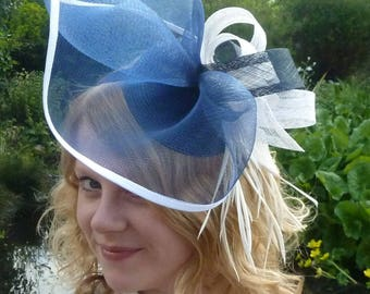 Navy blue and ivory cream statement fascinator.  Navy blue and ivory wedding hat