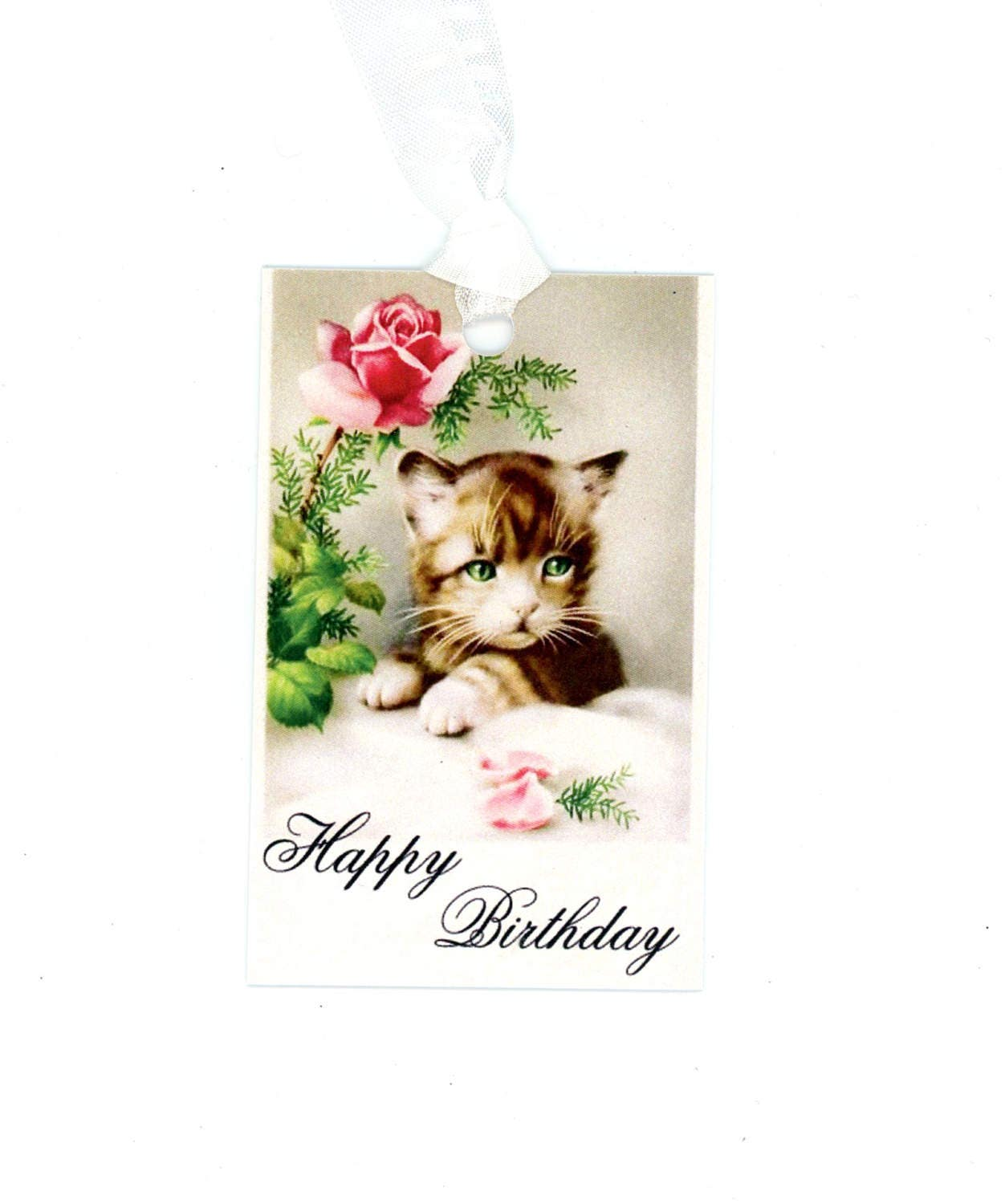Happy Birthday Gift Tags Cat Tags Kitten Tags Vintage