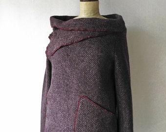 Purple wool jacket, boiled wool jacket, purple minimal jacket, purple wool