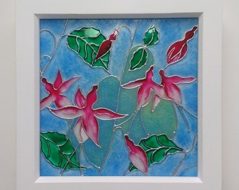 Dancing Fuschia Glass Art Painting / Original Design / Flower Art / 20cm Box Frame