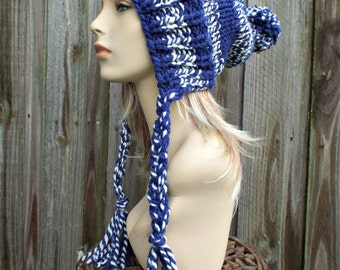 Royal Blue and Cream Slouchy Pom Pom Hat - Blue Hat Blue Beanie Slouchy Hat Slouchy Beanie  Winter Hat Womens Hat Charlotte - READY TO SHIP