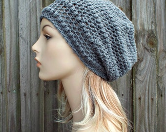 Slate Grey Slouchy Beanie - Grey Crochet Hat Grey Womens Hat Grey Hat Grey Beanie Grey Winter Hat - Penelope Puff Stitch Hat - READY TO SHIP