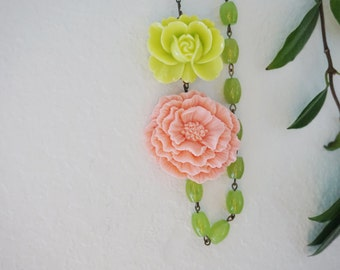 Statement Necklace Poppy Necklace Coral Necklace Lime Green Necklace Flower Necklace Bib Necklace Bridesmaid Gift Bridesmaid Jewelry Gift