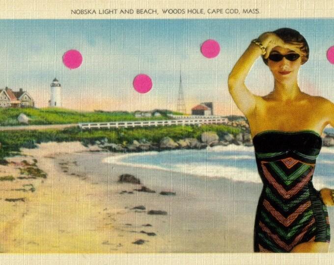 Beach Theme Art Collage, Beachy Artwork, Massachusetts Postcard