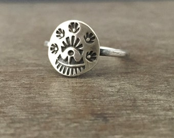 Sterling silver Stamped tribal shield ring - made to order ring - unique ring - tribal ring - boho ring -