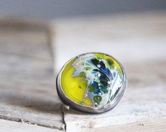 Blue + Green Glass Ring / Modern Jewelry