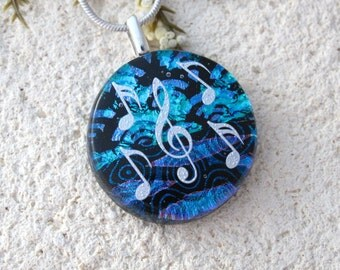 Music Necklace, Musical Pendant, Dichroic Jewelry,  Fused Glass Jewelry, Blue Necklace, Dichroic Pendant, Fused Glass Necklace, 111316p1