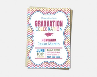 Graduation Invitation - High School or College Graduation Invitation - Pink Glitter and Chevron - Graduation Invitations
